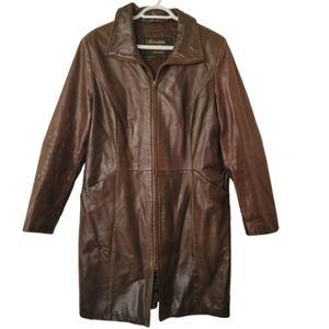 100% brown leather 3/4 srait Jacket